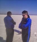 Eric Anderson and Peter Van Rossen scanning for wind
